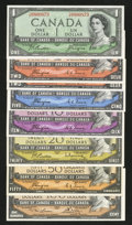 Canadian Currency: , $1 Through $100 1954 Devil's Face and Modified Portrait Notes.. ... (Total: 8 notes)