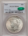 Peace Dollars: , 1927 $1 MS64 PCGS. CAC. PCGS Population (1515/286). NGC Census:(826/93). Mintage: 848,000. Numismedia Wsl. Price for probl...