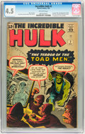 Silver Age (1956-1969):Superhero, The Incredible Hulk #2 (Marvel, 1962) CGC VG+ 4.5 Off-whitepages....