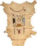 American Indian Art, A NAVAJO SAND PAINTING ON HIDE. c. 1920...