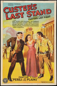 """Custer's Last Stand (Stage and Screen Productions, 1936). One Sheet (27"""" X 41"""") Chapter 1 -- """"Perils of t..."""