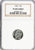 Proof Roosevelt Dimes: , 1955 10C PR68 Cameo NGC. NGC Census: (603/61). PCGS Population(149/2). Mintage: 378,200. Numismedia Wsl. Price for problem...