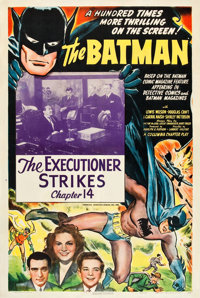 """The Batman (Columbia, 1943). One Sheet (27"""" X 41"""") Chapter 14 -- """"The Executioner Strikes."""""""