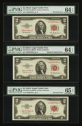 Error Notes:Major Errors, Fr. 1510 $2 1953A Legal Tender Notes. PMG Gem Uncirculated 65EPQand Choice Uncirculated 64 EPQ.... (Total: 3 notes)