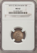 Seated Dimes, 1875-CC 10C Mintmark Below Bow MS62 NGC. Mintage: 4,645,000.(#4674)...