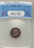 Bust Dimes: , 1830 10C Medium 10C AU53 ANACS. NGC Census: (5/137). PCGSPopulation (2/134). Mintage: 510,000. Numismedia Wsl. Price forp...