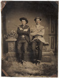 Photography:Tintypes, Great Half Plate Tintype of Two Well-Armed Western Gents, Circa 1885....