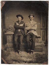 Great Half Plate Tintype of Two Well-Armed Western Gents, Circa 1885
