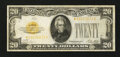Small Size:Gold Certificates, Fr. 2402* $20 1928 Gold Certificate Star. Very Fine.. ...