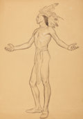 Mainstream Illustration, WALTER BEACH HUMPHREY (American, 1892-1966). Study for Hoveymurals, Dartmouth College. Charcoal on paper. 27 x 19 in.. ...