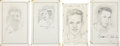 "Miscellaneous Collectibles:General, Tennis Stars Signed Original Artwork Lot of 4 From ""RaittCollection""...."