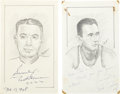 "Baseball Collectibles:Others, Nat Holman and Bob Cousy Signed Original Artwork Lot of 2 From""Raitt Collection"". ..."