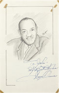 "Autographs:Bats, Jesse Owens Signed Original Artwork ""Raitt Collection""...."