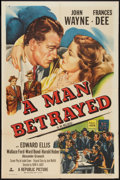 """Movie Posters:Mystery, A Man Betrayed (Republic, R-1953). One Sheet (27"""" X 41""""). Mystery.. ..."""