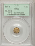 California Fractional Gold: , 1853 50C Liberty Octagonal 50 Cents, BG-304, Low R.5, AU53 PCGS.PCGS Population (2/47). NGC Census: (0/8). (#10424)...