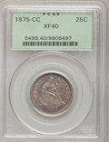 Seated Quarters: , 1875-CC 25C XF40 PCGS. PCGS Population (9/31). NGC Census: (0/34).Mintage: 140,000. Numismedia Wsl. Price for problem free...