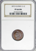 Proof Indian Cents, 1873 1C Closed 3 PR66 Brown NGC....