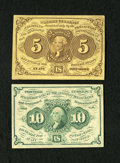 Fractional Currency:First Issue, Fr. 1230 5c First Issue XF. Fr. 1242 10c First Issue VF.. ... (Total: 2 notes)