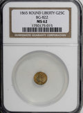 California Fractional Gold: , 1865 25C Liberty Round 25 Cents, BG-822, R.4, MS62 NGC. NGC Census:(5/1). PCGS Population (17/18). (#10683)...