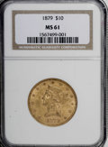Liberty Eagles: , 1879 $10 MS61 NGC. NGC Census: (218/131). PCGS Population (42/87).Mintage: 384,770. Numismedia Wsl. Price for NGC/PCGS coi...