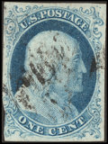 Stamps, 1¢ Blue, Type 1b (5A),...