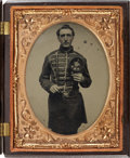 Military & Patriotic:Civil War, Outstanding Quarter Plate Ambrotype of New Hampshire Fifer in Patriotic Case....