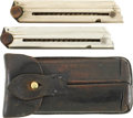 Military & Patriotic:WWI, Luger Leather Magazine Pouch and Two Wood Base Magazines....