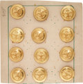 Military & Patriotic:WWI, Twelve WWI Belgian Air Force Tunic Buttons on the Original Card....