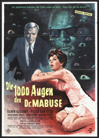 """The 1,000 Eyes of Dr. Mabuse (CCC Film, 1960). German A1 (24"""" X 33.75""""). Thriller"""
