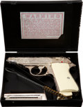 """Military & Patriotic:WWII, Factory Engraved Walther Model PP in the Original Box. Cal. .22 L.R. Serial Number 48866LR, 3½"""" Barrel...."""
