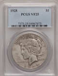 Peace Dollars: , 1928 $1 VF25 PCGS. PCGS Population (6/6955). NGC Census: (9/4518).Mintage: 360,649. Numismedia Wsl. Price for problem free...