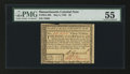 Colonial Notes:Massachusetts, Massachusetts May 5, 1780 $3 PMG About Uncirculated 55.. ...