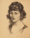 Mainstream Illustration, JOHN KNOWLES HARE (American, 1884-1947). Portrait of aWoman, 1921. Charcoal on paper. 19 x 15 in.. Signed lowerright. ...