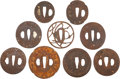 Military & Patriotic:WWII, Collection of Nine Antique Japanese Iron Tsuba.... (Total: 9 Items)