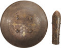 Military & Patriotic:Foreign Wars, Armor: Large Antique Indo-Persian Islamic Steel Shield Dhal Separ and Bazuband, Eighteenth Century.... (Total: 2 Items)