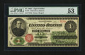 Large Size:Legal Tender Notes, Fr. 16 $1 1862 Legal Tender PMG About Uncirculated 53....