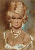 Pin-up and Glamour Art, FRITZ WILLIS (American, 1907-1979). Portrait of a Blonde.Oil on board. 7 x 5 in.. Not signed. ...