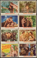 "Movie Posters:Adventure, Tarzan Escapes (MGM, R-1954). Lobby Card Set of 8 (11"" X 14"").Adventure.. ... (Total: 8 Items)"