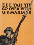 """Military & Patriotic:WWI, WWI Recruiting Poster: """"E-E-E-Yah-Yip Go Over With the U.S.Marines""""...."""