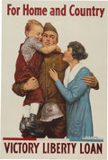 """Military & Patriotic:WWI, WWI Home Front Poster: """"For Home and Country""""...."""