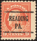 Stamps, 9¢ Salmon Red, Perf 10 at Top (509a),...