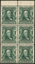 Stamps, 1¢ Blue Green (300b),...