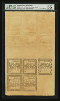 Colonial Notes:Pennsylvania, Pennsylvania Middle-Ferry on Schuylkill Uncut Double Sheet of Ten Remainders- 3d, 4d, 5d, 6d, and 9d January 18, 1777 PMG Abou...