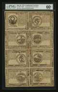 Colonial Notes:Continental Congress Issues, Continental Currency July 22, 1776 Counterfeit Detector Sheet ofEight PMG Uncirculated 60 Net....