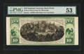Large Size:Demand Notes, $10 National Currency Back Proof Hessler 497BD PMG AboutUncirculated 53....