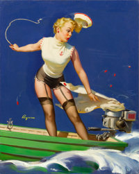 GIL ELVGREN (American, 1914-1980) A Fast Takeoff (A Speedy Takeoff), 1954 Oil on canvas 30 x 24 i