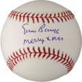 "Autographs:Baseballs, Ernie Banks ""Merry Xmas"" Inscribed Single Signed Baseball..."