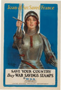 "Military & Patriotic:WWI, WWI Home Front Poster: ""Joan of Arc Saved France"". ..."