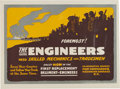 """Military & Patriotic:WWI, WWI Recruiting Poster: """"Foremost! The Engineers Need SkilledMechanics and Tradesmen""""...."""