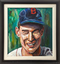 Baseball Collectibles:Others, Ted Williams Original Oil Painting....